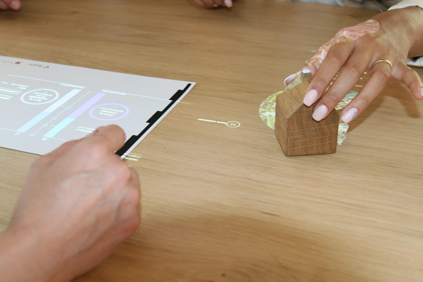 Zeigt auf einem codierten Papier, wo der Projektor die Finanzierung anzeigen soll.