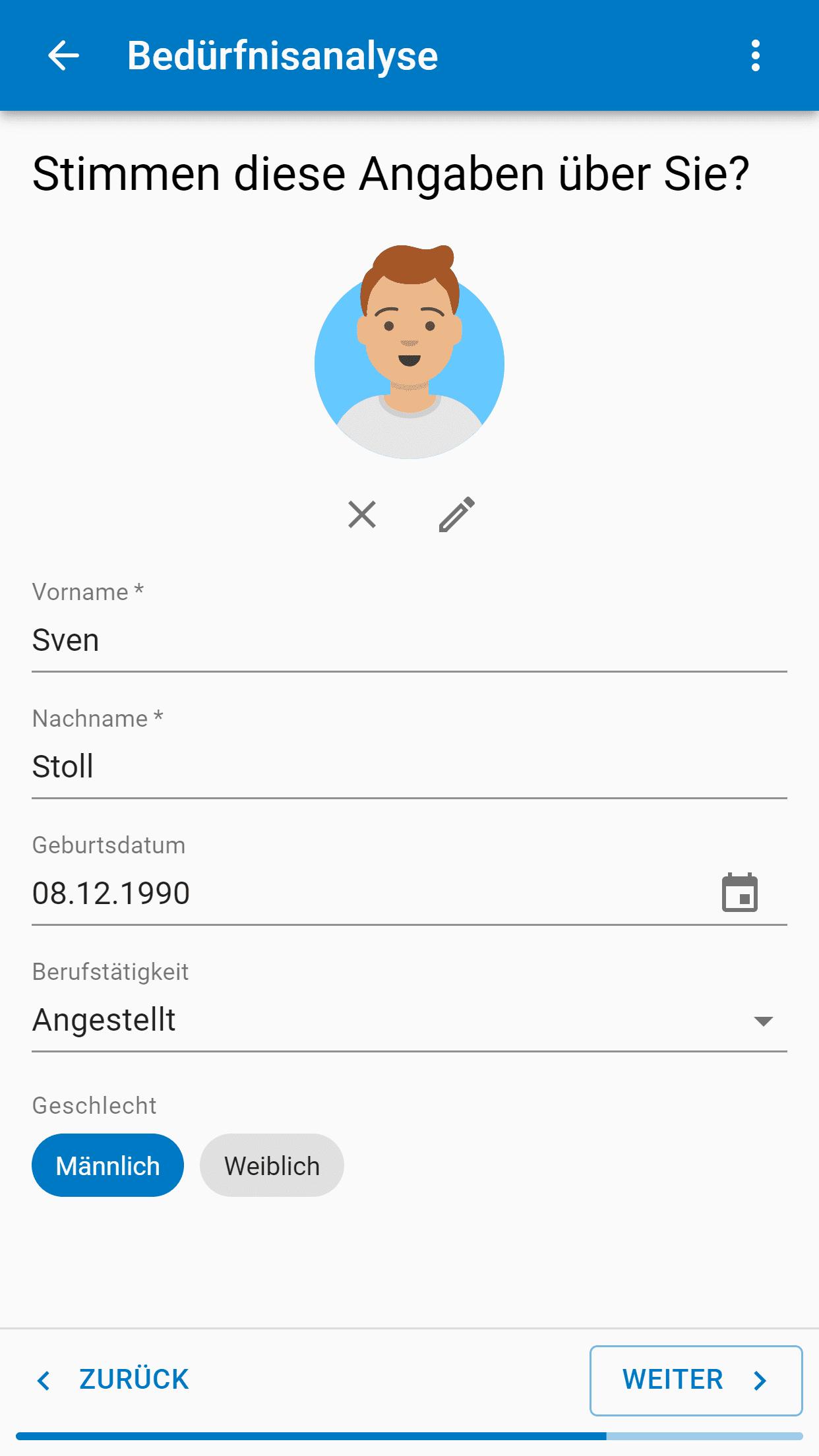 Zeigt eine Maske zum Erfassen und Bestätigen von Vorname, Name, Geburtsdatum etc.